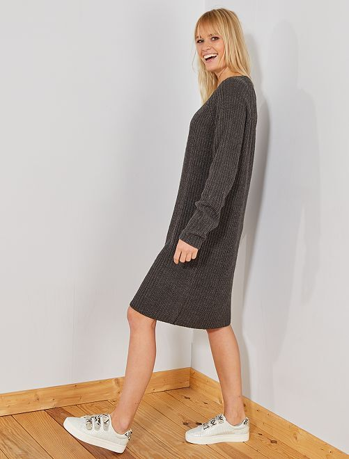 Robe pull en maille tricot 'JDY'                                                     gris