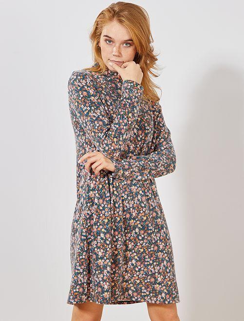 Robe pull fleurie                                                     bleu/fleurs