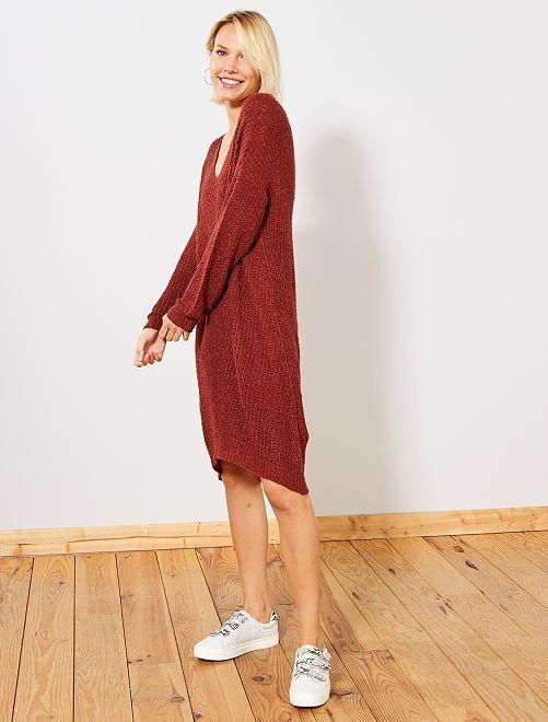 Robe pull grosse maille 'Jacqueline de Yong'                                         marron brique