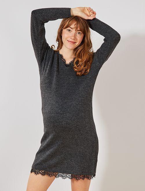 Robe pull grossesse                             gris Vêtement de grossesse