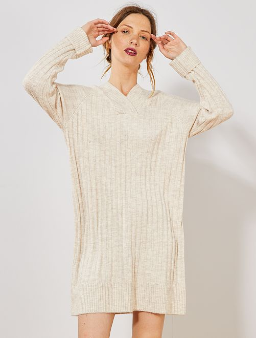 Robe pull large col                                         beige Femme