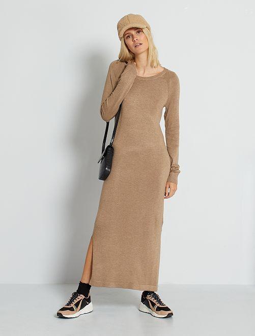 Robe pull longue                                                     beige