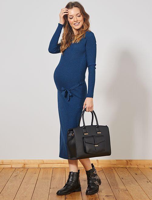 Robe pull longue de grossesse                                                     bleu