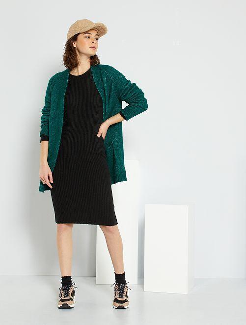 Robe pull maille côtelé                     noir