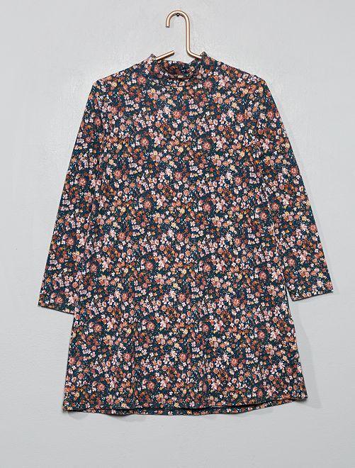 Robe pull maille doudou                                                     fleuri