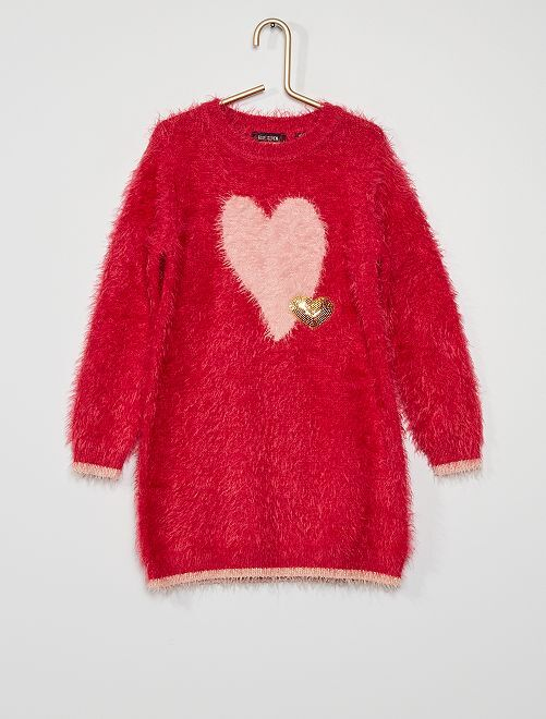 Robe pull maille doudou                                         rose