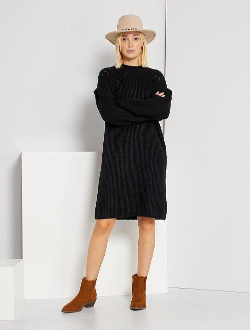 Robe pull maille épaisse                                         noir