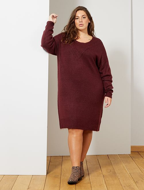 Robe pull maille fantaisie                                         bordeaux