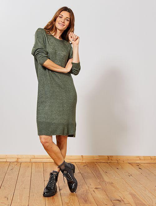 Robe pull motif chevrons                             vert thym