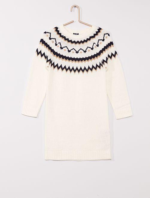 Robe pull motif jacquard                                         blanc