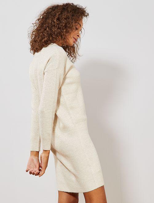 Robe pull pailletée                                         beige Femme