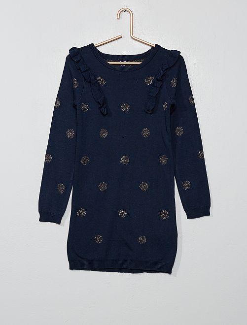 Robe pull pailletée                                             bleu marine