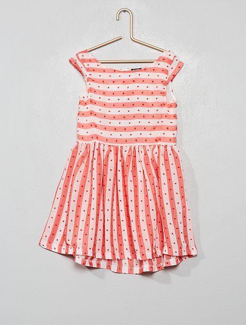 Robe rayée à plumetis                             blanc/rose