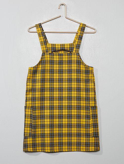 Robe salopette à carreaux                             carreaux jaune