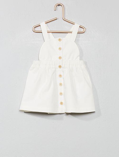 Robe salopette boutonnée                             blanc cassé Bébé fille