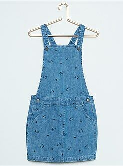 Fille 3-12 ans Robe salopette 'chat' en denim