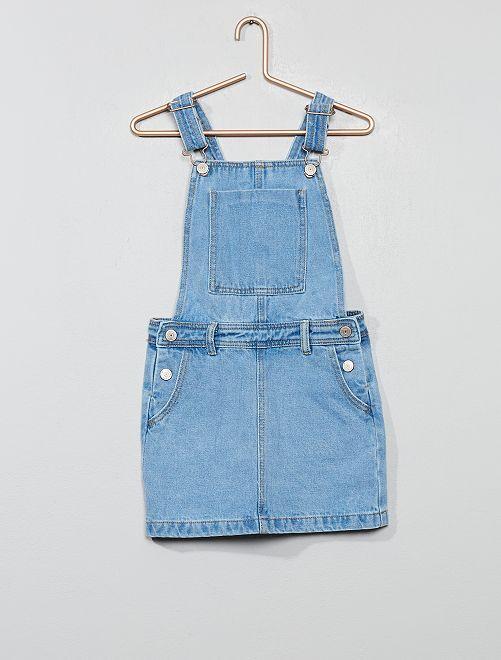 Robe salopette en jean                                         bleu clair Fille