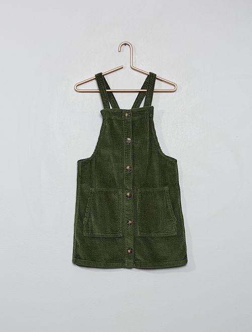 Robe salopette velours côtelé                     vert thym