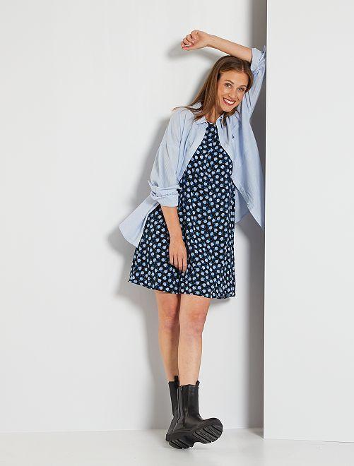 Robe sans manches imprimée 'fleurs'                                         noir/bleu