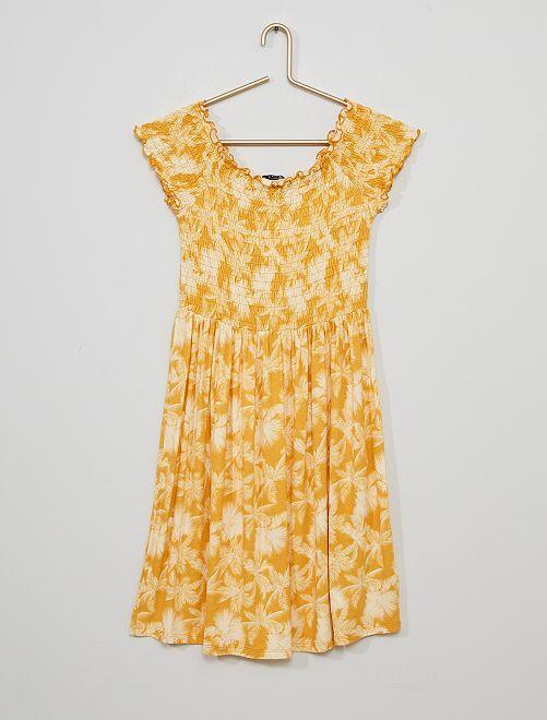 Robe smockée imprimée                                         jaune