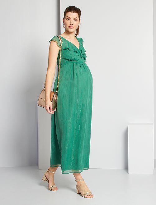 Robe soirée de maternité                             vert pin