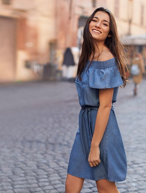 Robe style Bardot en lyocell                                                                 bleu jean Femme