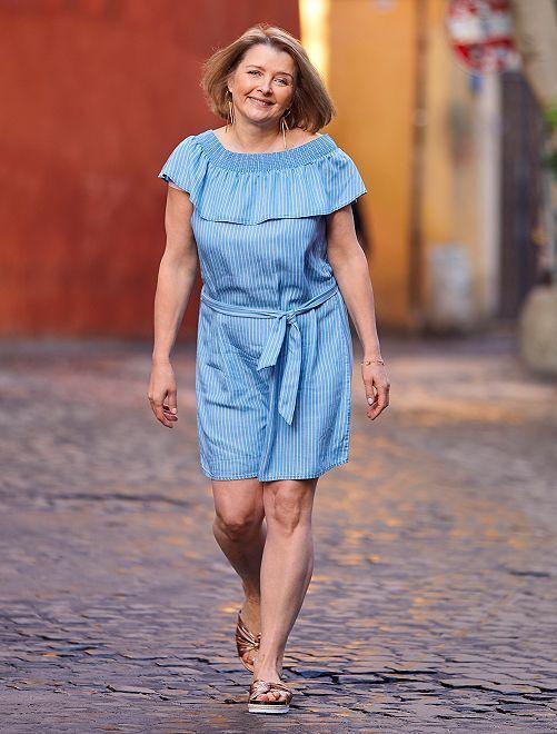 Robe style Bardot en lyocell                                                                                                                 bleu rayé Femme