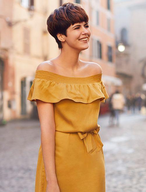 Robe style Bardot en lyocell                                                         jaune Femme