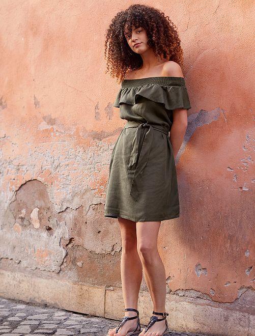 Robe style Bardot en lyocell                                             kaki Femme