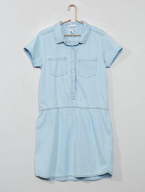 Robe style chemise en denim                             bleu