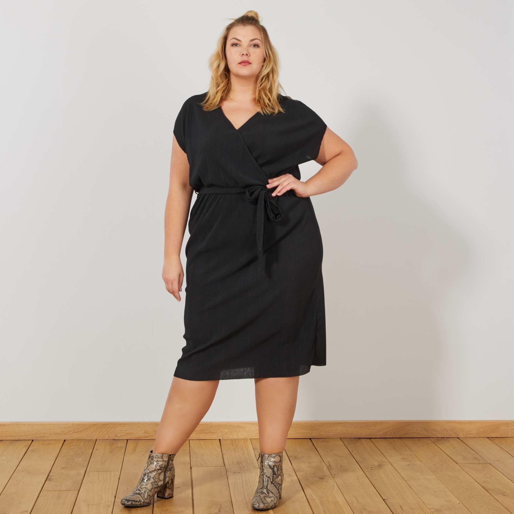 50de189bb43 Robe style portefeuille Grande taille femme - noir - Kiabi - 15