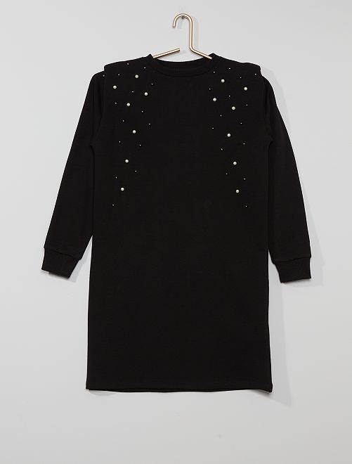 Robe sweat à perles                             noir