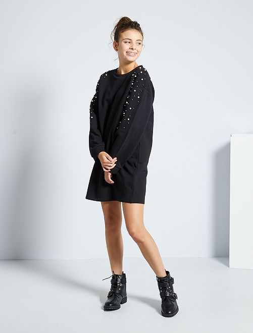 Robe sweat brodée de perles                             noir