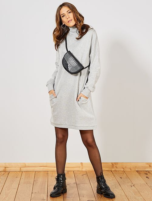 Robe sweat col montant                                         gris