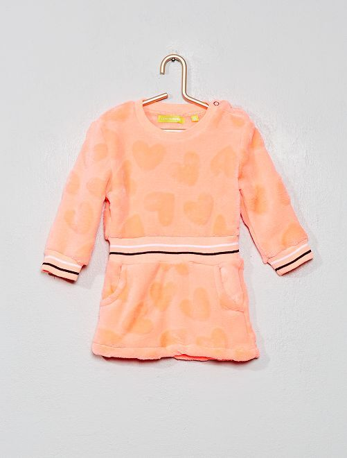 Robe sweat en polaire                                         rose fluo
