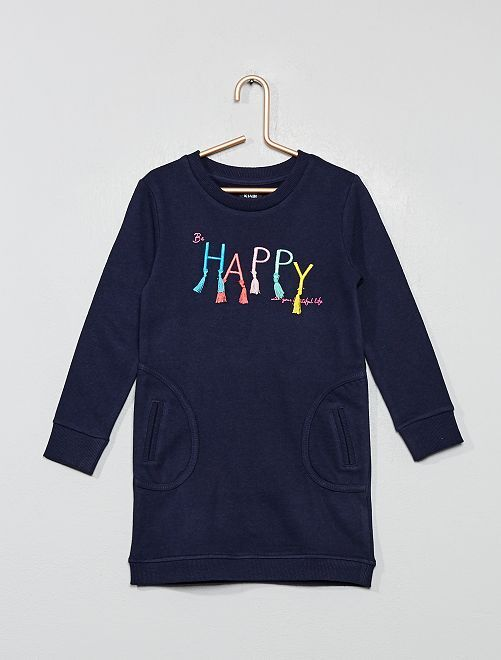 Robe sweat 'happy'                                         bleu marine Fille