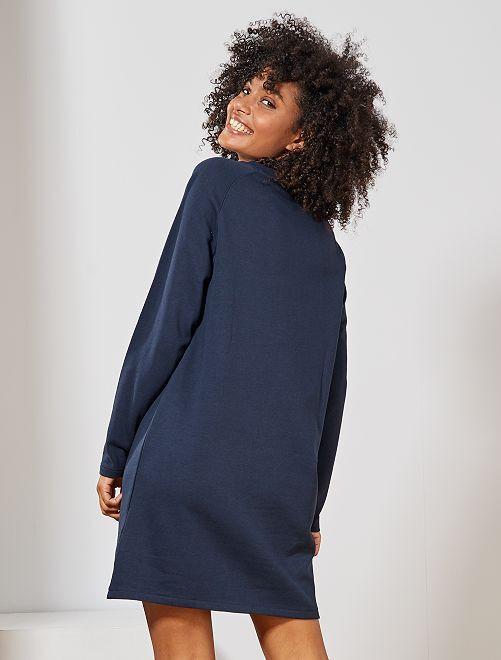 Robe sweat uni                                         bleu marine Femme