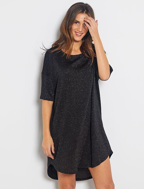 Robe t-shirt brillante                             noir