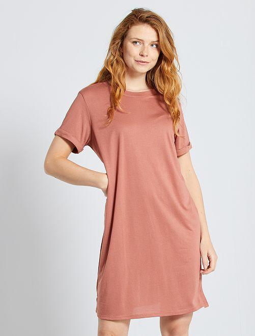 Robe T-shirt en modal                                                     bois de rose