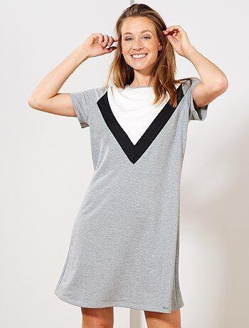 Femme du 34 au 48 - Robe t-shirt esprit sweat - Kiabi