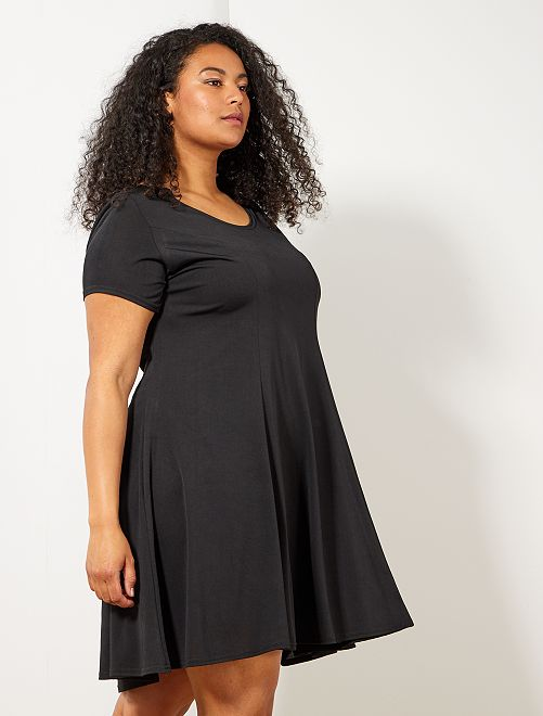 Robe t-shirt forme patineuse                             noir Grande taille femme