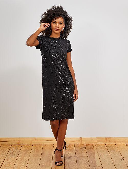 Robe t-shirt pailleté                             noir