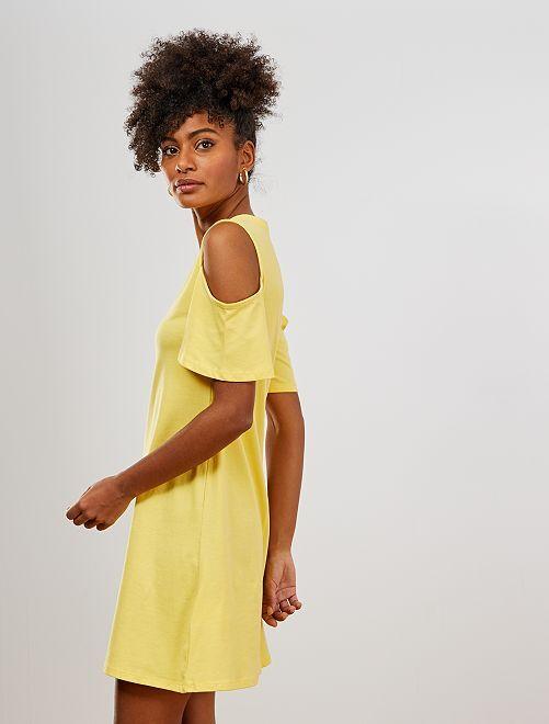 Robe tee-shirt épaules dénudées                                                     jaune