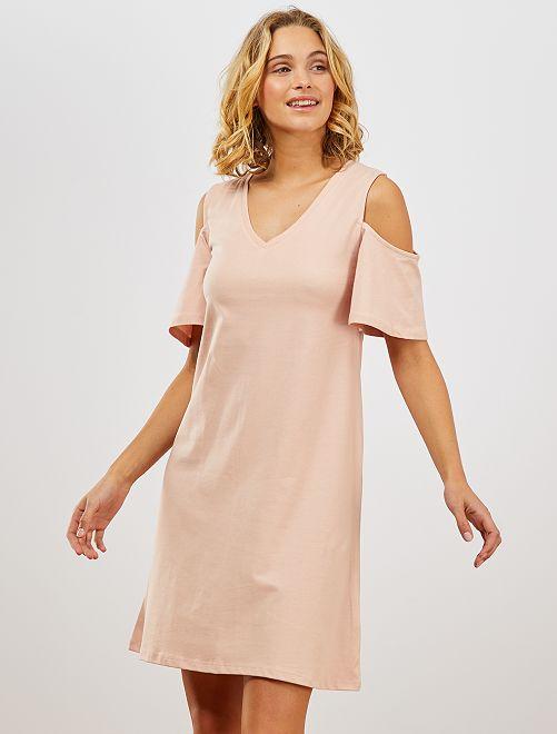 Robe tee-shirt épaules dénudées                                                     rose