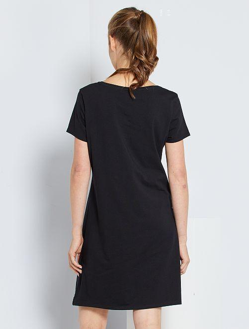 3f91fcc1f26 Robe tee-shirt Femme - noir - Kiabi - 8