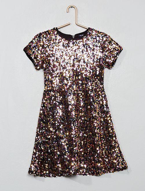 Robe trapèze à sequins multicolores                                                     rose/doré/argent