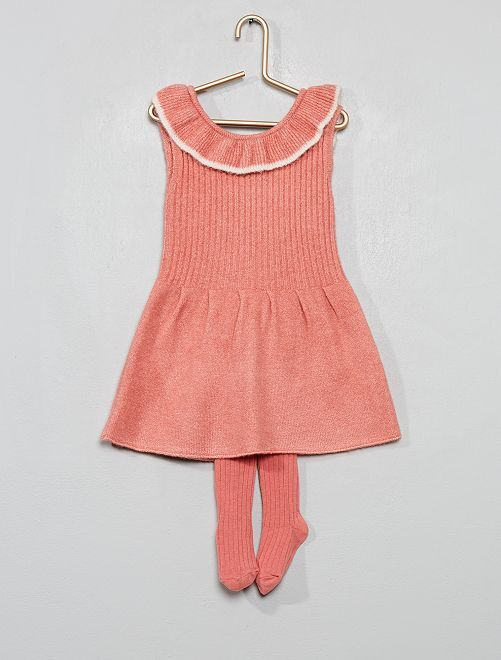 Robe tricot + collants                             rose