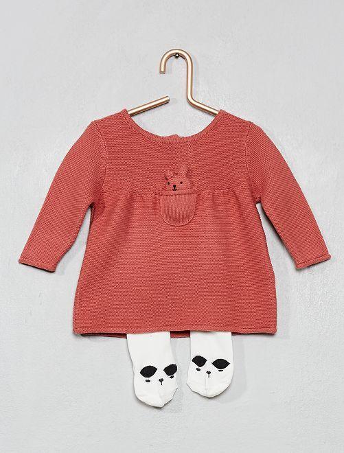 Robe tricot coton bio + collants 'éco-conception'                             rose
