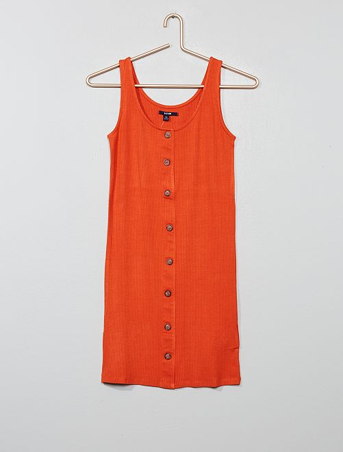 Robe tube boutonnée                                         orange