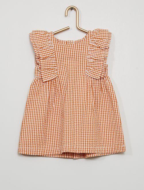 Robe vichy éco-conçue                                         orange
